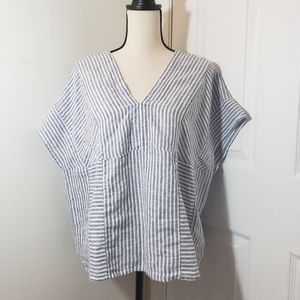 Tahari white and blue striped linen top
